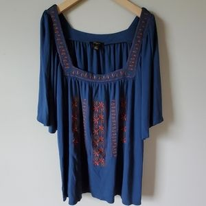Cupio Flutter Sleeves Embroidered Blouse